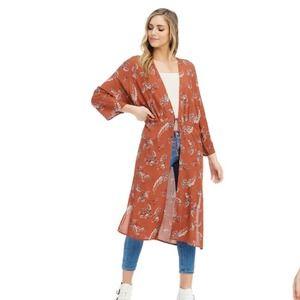 Anama Rust Floral Print Long Kimono